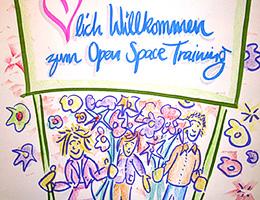 Führung und Zusammenarbeit in einem Open Space Training