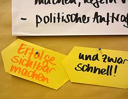 Moderationskarte in einem Workshop mit Jutta Weimar